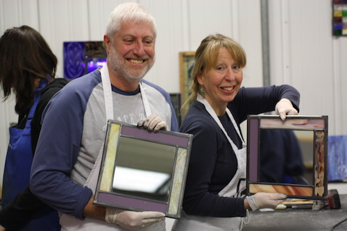 Glass students at the Creative Glass Guild in Bristol