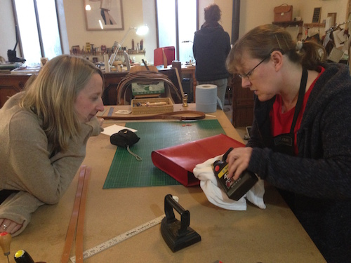 Gaynor and Hannah in the leather-workshop - it smells amazing