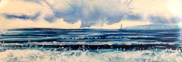Sea scene with hot wax